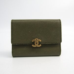 Chanel Folding In Three Leather Card Case Khaki