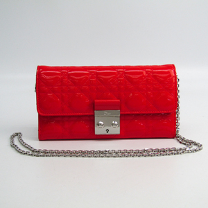 Christian Dior Canage/New Rock Women's Patent Leather Chain/Shoulder Wallet Coral Red