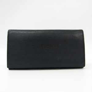 Balenciaga Punching Logo 456505 Unisex Leather Long Wallet (bi-fold) Dark Navy