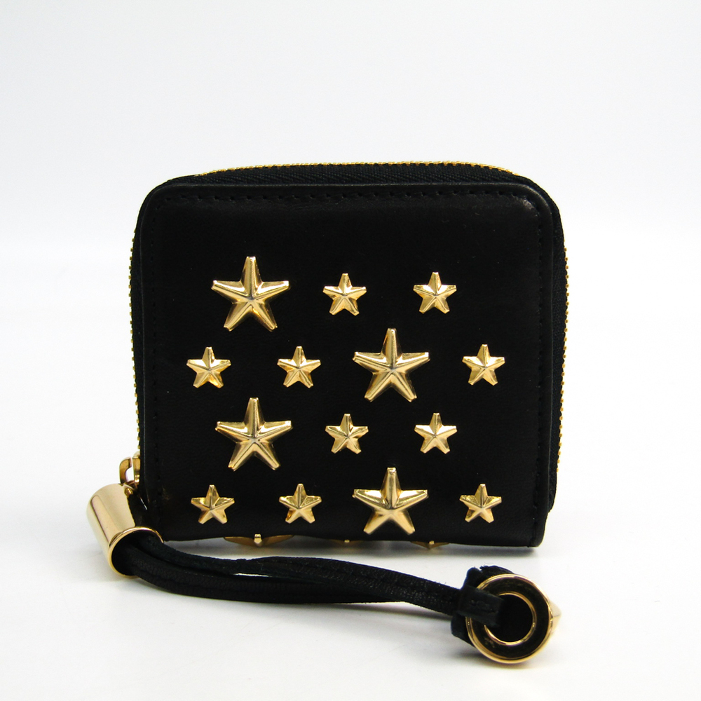 Jimmy Choo PENNY Women's Leather Studded Coin Purse/coin Case Black