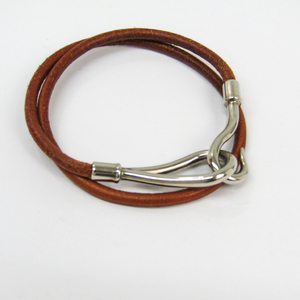 Hermes Jumbo Women's Fashion Choker Necklace (Silver,Brown)