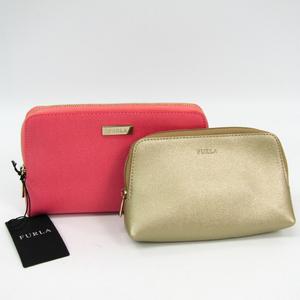 Furla 2-piece Set Women's Leather Pouch Gold,Pink