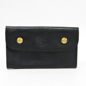 イル・ビゾンテ(Il Bisonte) ユニセックス レザー 中財布(二つ折り) ブラック