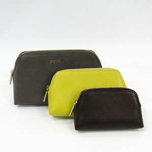 Furla 3-piece Set Women's Leather Pouch Dark Brown,Gray,Yellow