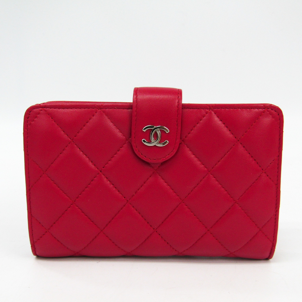 8ef874b665c91e Chanel Matelasse A48667 Women's Lambskin Middle Wallet (bi-fold) Rose Red