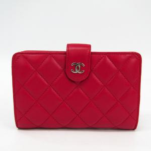 Chanel Matelasse A48667 Women's  Lambskin Middle Wallet (bi-fold) Rose Red