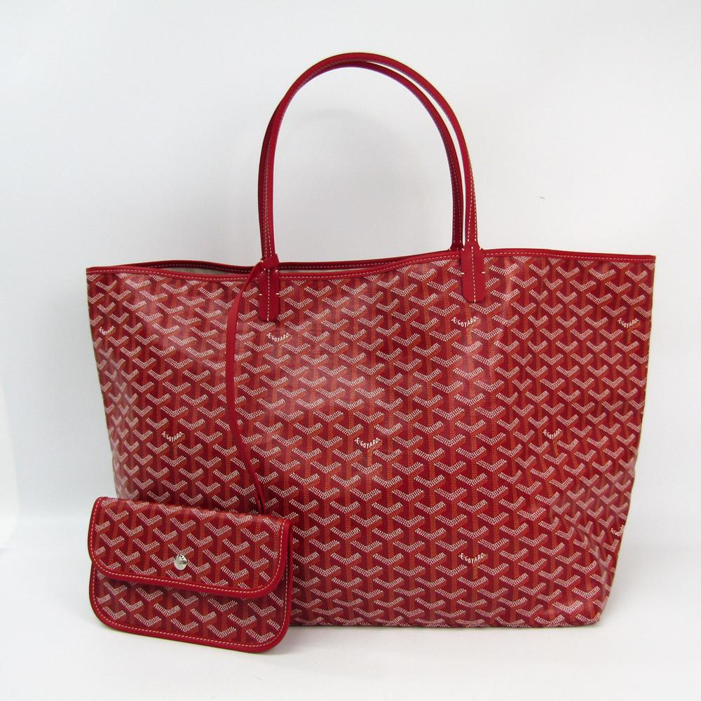 Goyard Saint Louis Saint Louis GM Leather,Canvas Tote Bag Red