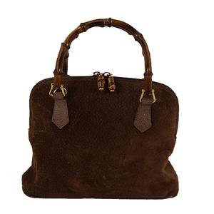 Auth Gucci Handbag bamboo 000.122.0290 brown gold