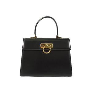 Auth Salvatore Ferragamo Hand Bag Gancini Black Gold