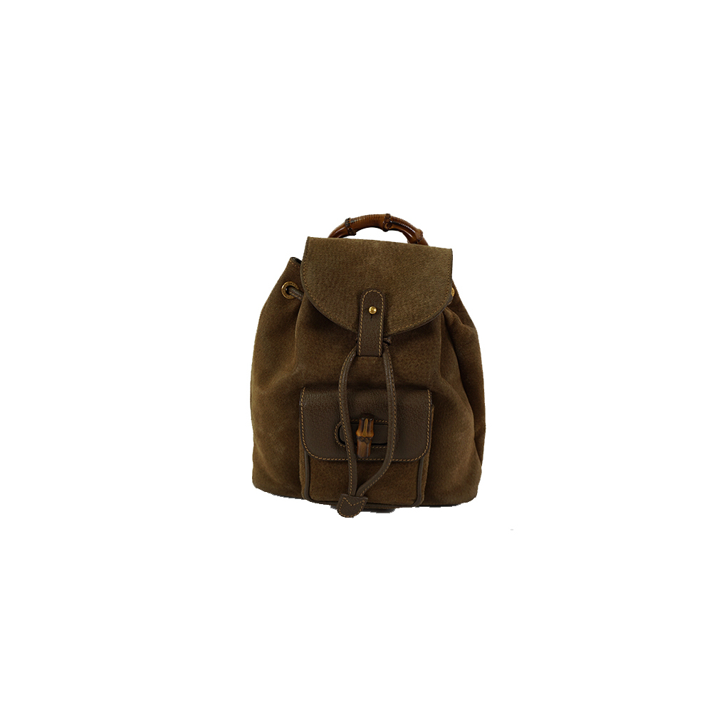 13f834aa49a9 Auth Gucci Backpack Bamboo 003.2058.0030 Khaki Brown Suede