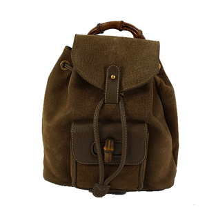 Auth Gucci Backpack Bamboo 003.2058.0030 Khaki Brown Suede