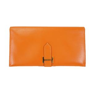 エルメス ベアン 長財布 □F刻印 オレンジ 【中古】財布 レディース