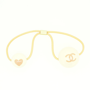 Chanel Coco Plastic Hair Tie Ivory,Pink