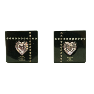 Chanel Coco スクエア ハートストーン プラスチック シルバー イヤリング Plastic Earrings Black