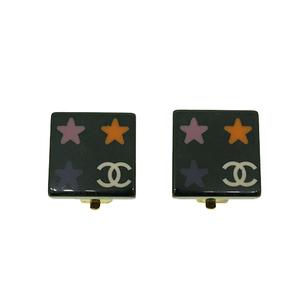 Chanel スクエア スター プラスチック イヤリング ブラック ゴールド Plastic Earrings Black