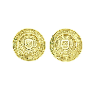Chanel Cambon Gold Plated Clip Earrings Gold