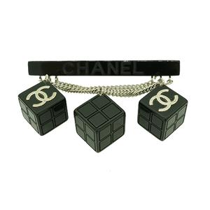 シャネル ブローチ ココマーク キューブ プラスチック ブラック