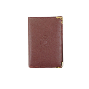 Auth Cartier Card Case Wine Red