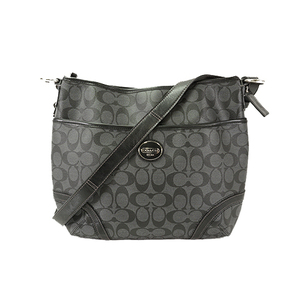 Auth Coach Shoulder Bag Signature Dark Gray Silver
