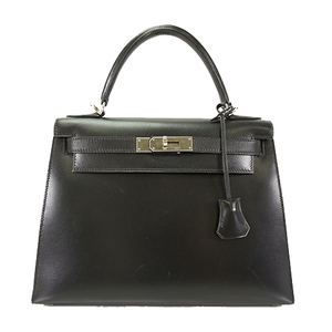 Auth Hermes Kelly28 Handbag □D Black Box Calf Leather  Lady's