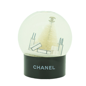 Auth Chanel Figurine Snow Globe Glass White Black