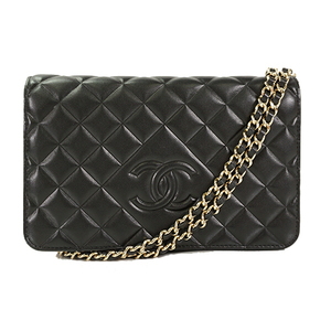 Auth Chanel Chain/Shoulder Wallet Matelasse Lambskin Black