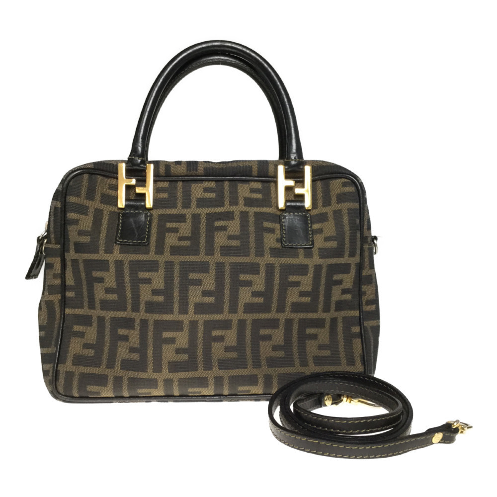 Auth Fendi Zucca 2WAY Handbag Shoulder Bag