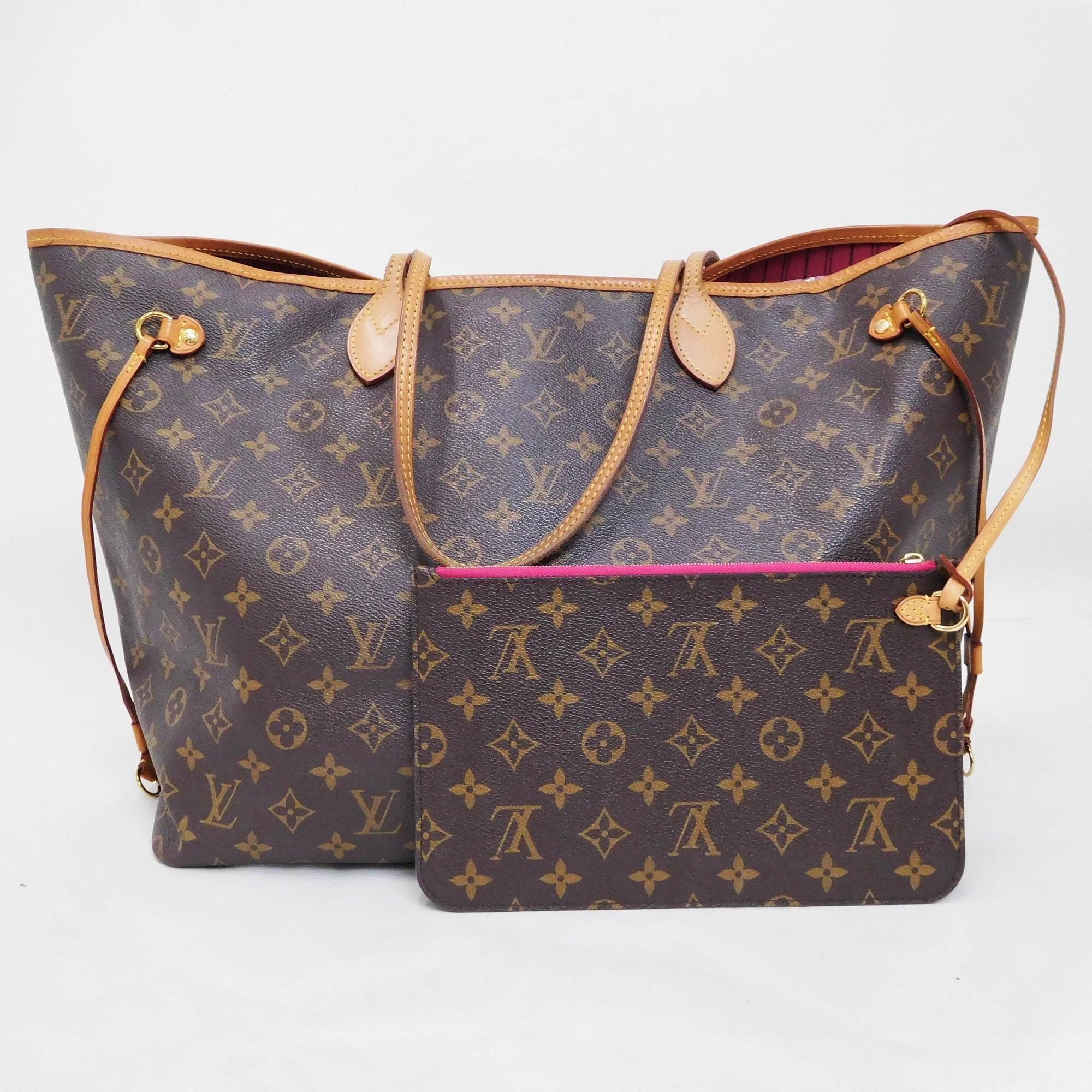 Auth Louis Vuitton Monogram Neverfull GM M41180 Women s Tote Bag Pivoine 92fc4bb5d6a30