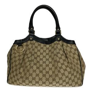 Auth Gucci Sukey 211944 GG Canvas Handbag Beige