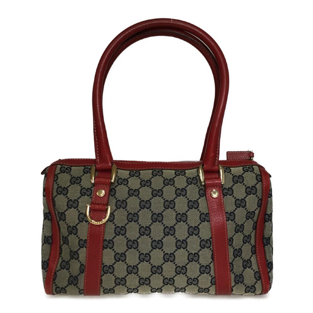 Auth Gucci  GG Canvas 130942 Mini Boston Bag Handbag Red