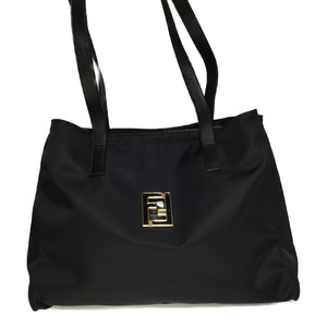 Auth Fenndi  06-14 15322 98 2 Nylon Tote Bag Black
