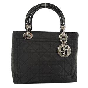 Auth Christian Dior Hand Bag Lady Dior  Cannage Black Lady's