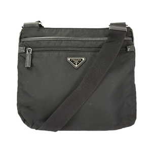 Auth Prada Shoulder Bag Tessuto Black Lady's
