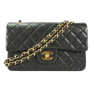 Auth Chanel W Flap W Chain Shoulder Bag Matelasse  Lambskin Black