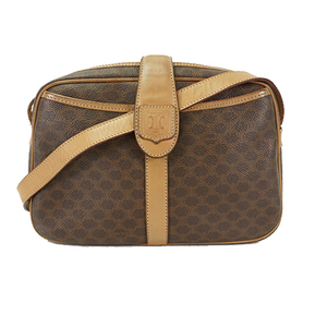 Auth Celine Shoulder Bag Macadam Brown Gold
