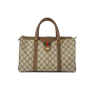 Auth Gucci GG Plus Mini Boston Bag Brown Gold