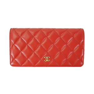 c7657c7351e2ee Auth Chanel Long Wallet (bi-fold) Matelasse Red
