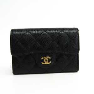 シャネル(Chanel) マトラッセ A80799 キャビアスキン 名刺入れ ブラック