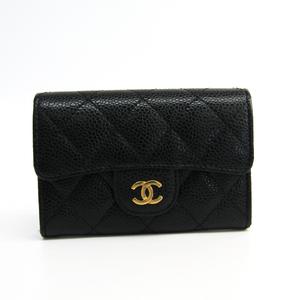 Chanel Matelasse A80799 Caviar Leather Business Card Case Black