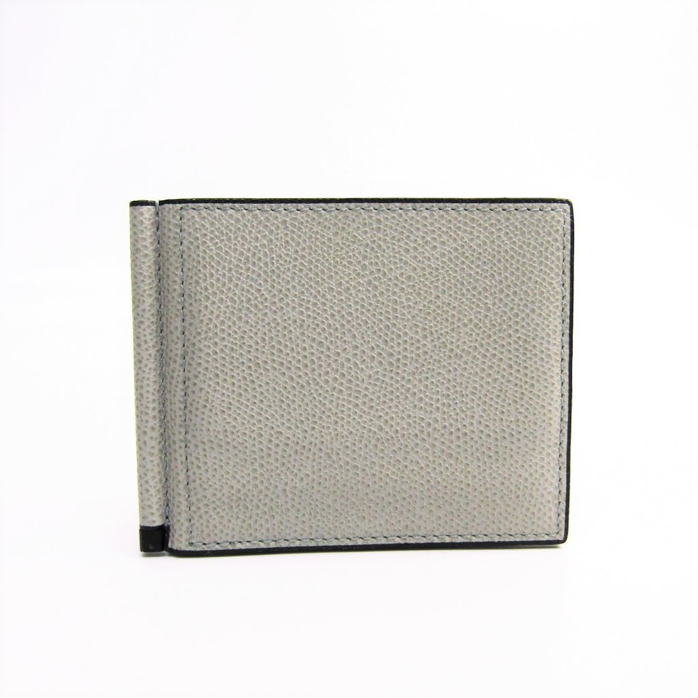 Valextra V0L80 With Money Clip Men's  Calfskin Money Clip Ash Gray