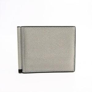 Valextra V0L80 With Money Clip Men's  Calfskin Money Clip Ash Gray