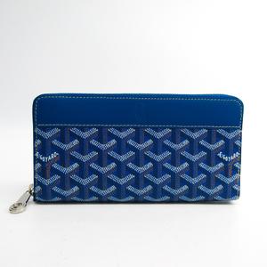 Goyard Matignon Leather,Canvas Long Wallet (bi-fold) Blue