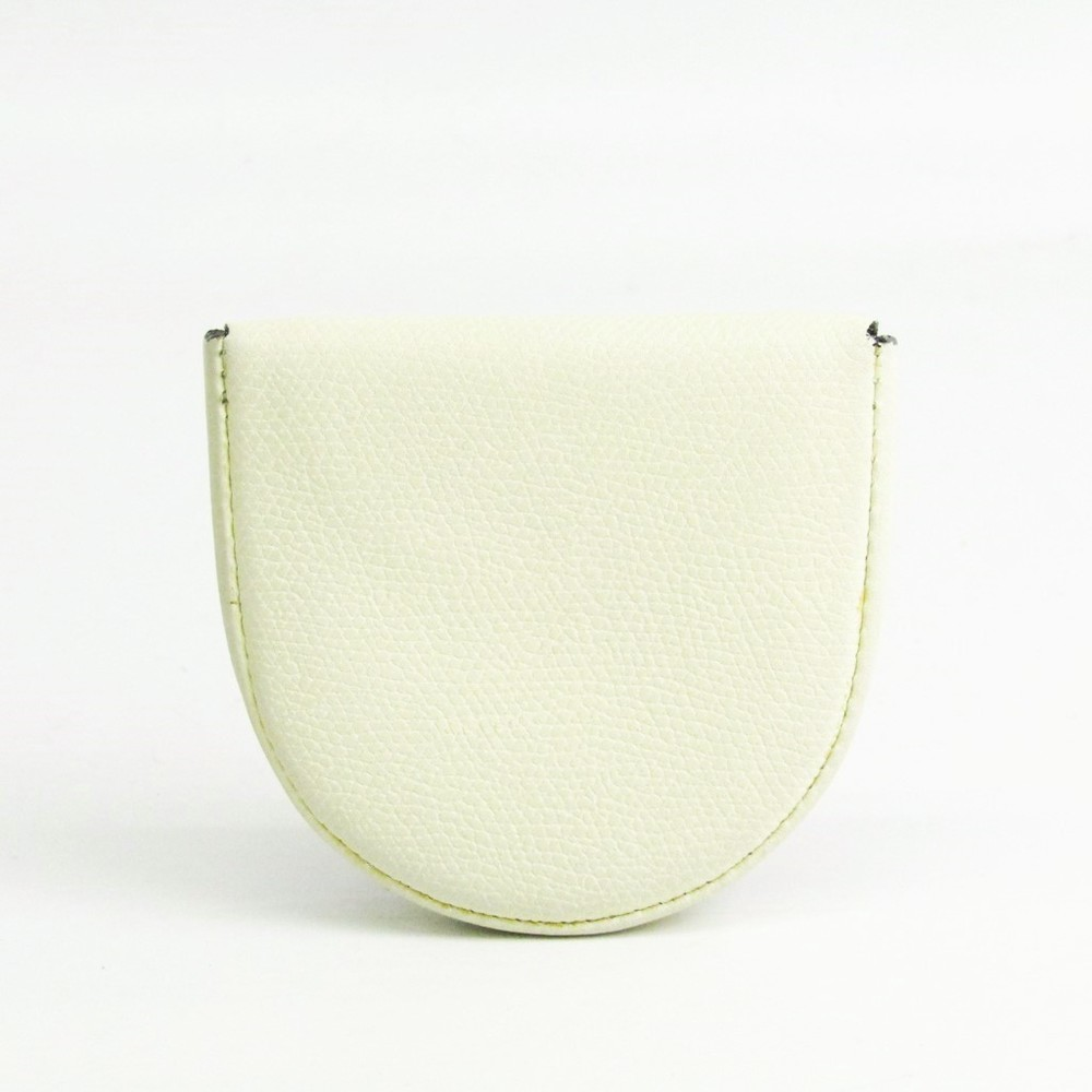 Valextra V0L89 Unisex Leather Coin Purse/coin Case White
