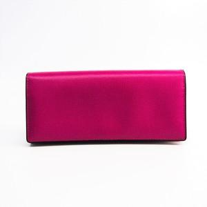 Valextra V8L42 Women's  Calfskin Long Wallet (bi-fold) Magenta