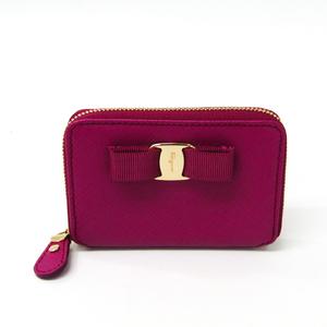 Salvatore Ferragamo Vara 22 C135 Women's Leather Coin Purse/coin Case Pink
