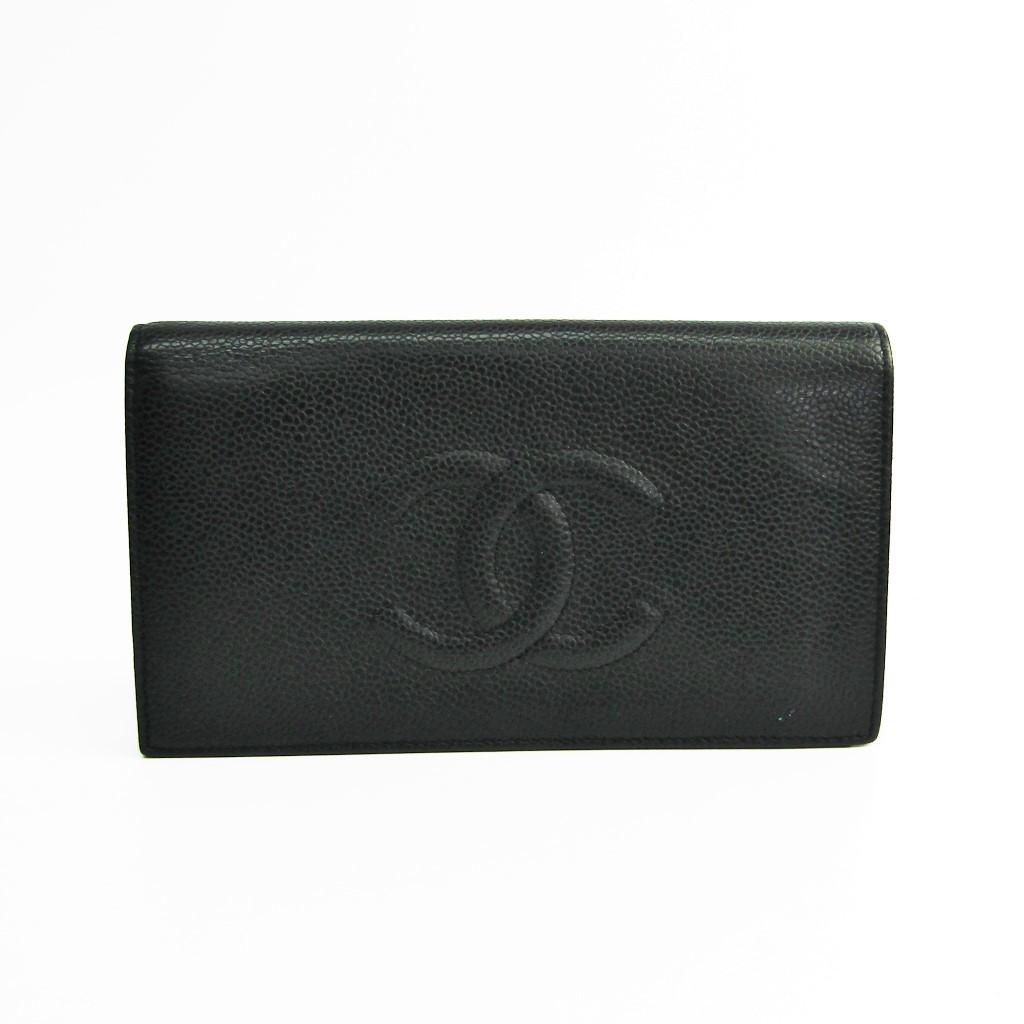 81d6653a3b9c Chanel A48651 Women's Caviar Leather Long Wallet (bi-fold) Black BF334878