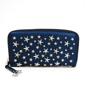 Jimmy Choo FILIPA Women's Leather Long Wallet (bi-fold) Navy