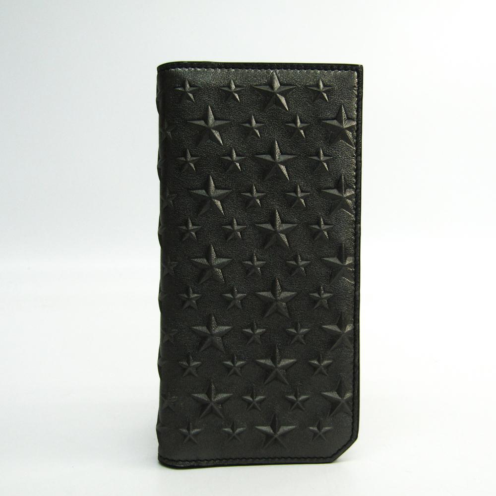 Jimmy Choo COOPER Men's Leather Long Wallet (bi-fold) Gunmetal