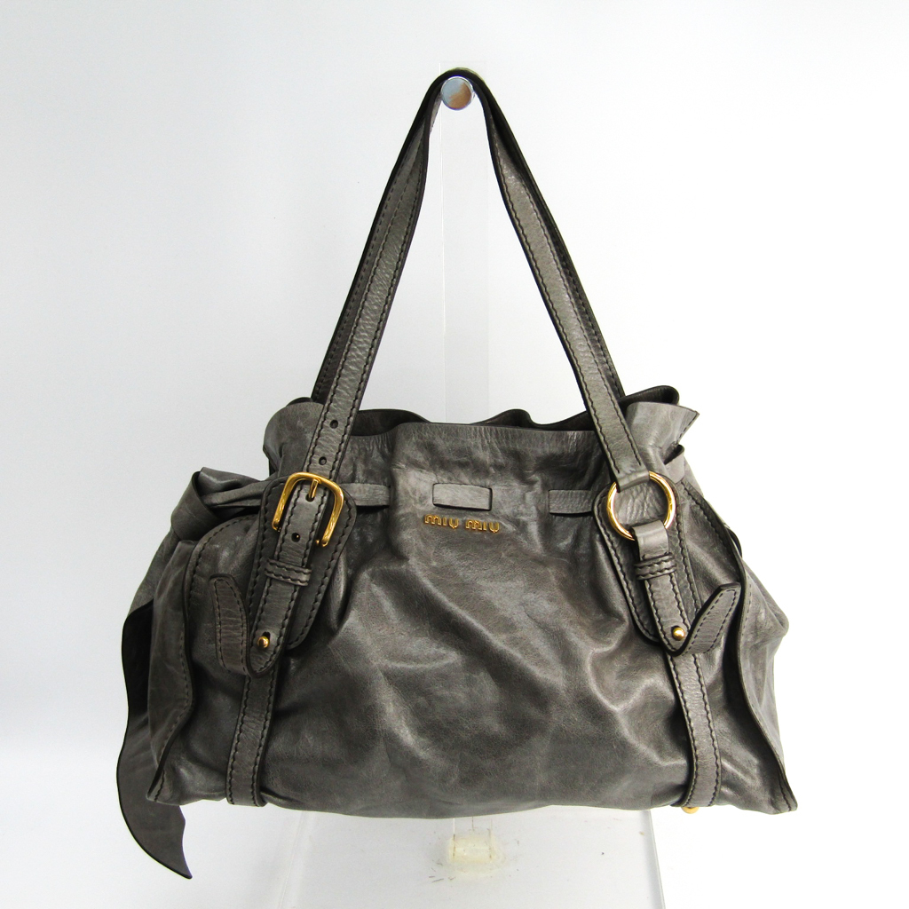 Details about Miu Miu Women s Leather Tote Bag Gray BF334172 48926af497