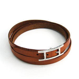 Hermes Hapi III Leather Wrap Bracelet Natural,Silver